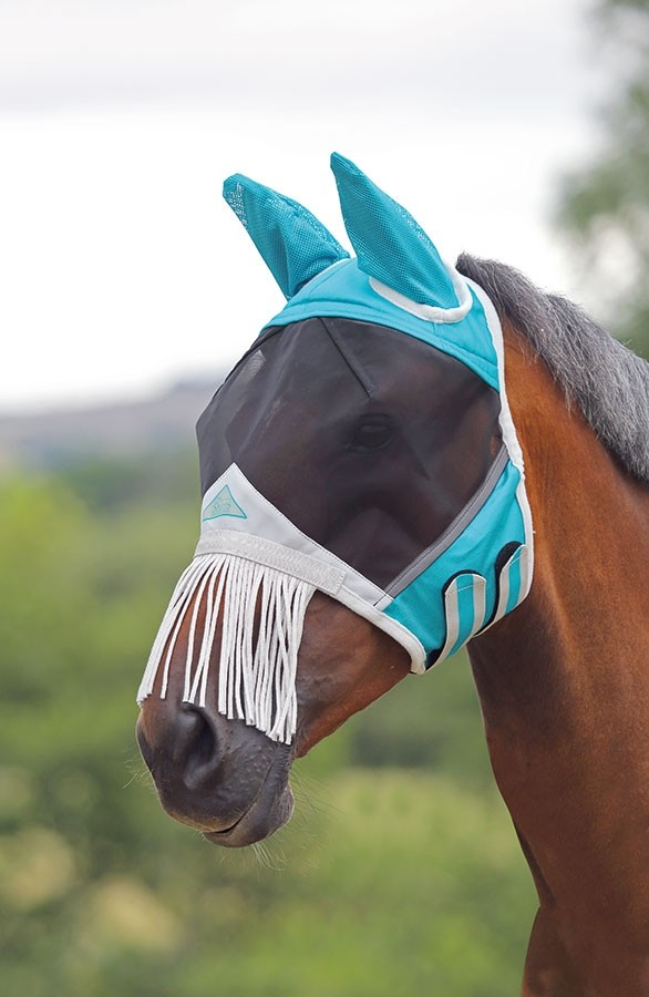 Shires Fine Mesh Fly Mask With Nose Fringe  - Thomas Irving's equestrian and accessories store  Shires Fine Mesh Fly Mask With Nose Fringe