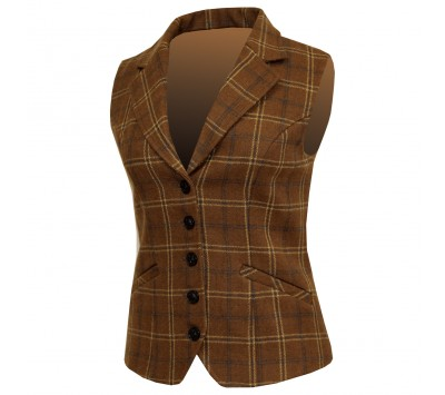 Equetech Womens Marlow Tweed Lapel Waistcoat