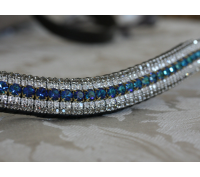 Equiture Megabling Bermuda Blue, Clear & Black Diamond Curve Browband