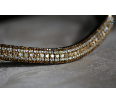 Equiture Golden Honey, Clear & Smoke Topaz Megabling Curve Browband