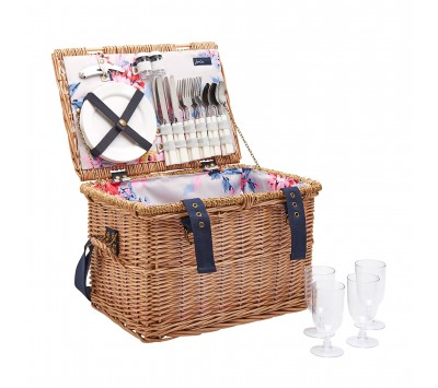 Joules Rattan Picnic Basket with Handle