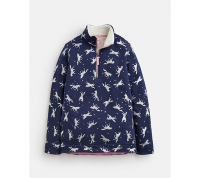 Joules Girls Fairdale Luxe Fur Lined Sweatshirt